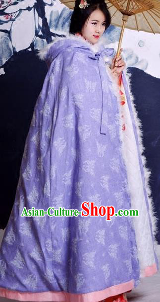 Traditional Ancient Chinese Costume Han Dynasty Princess Purple Cloak, Elegant Hanfu Clothing Chinese Embroidery Butterfly Cape Clothing for Women