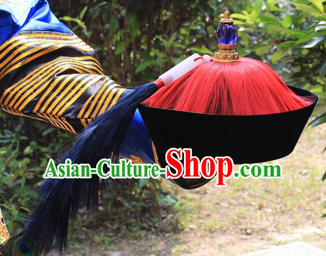 Traditional China Beijing Opera Officer Minister Hat, Ancient Chinese Peking Opera Qing Dynasty Manchu Eunuch Headwear