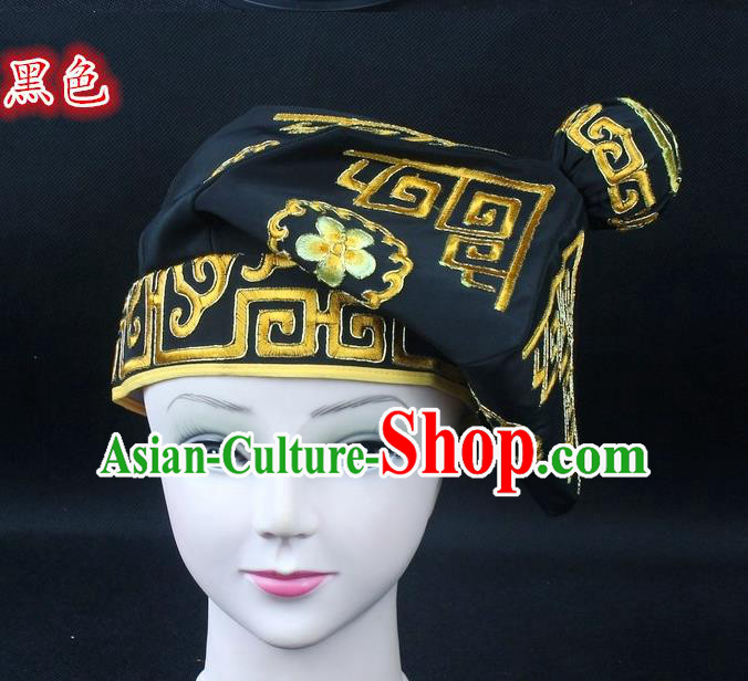 Traditional China Beijing Opera Takefu Hat, Ancient Chinese Peking Opera Martial Arts Men Headwear Embroidery Black Kerchief