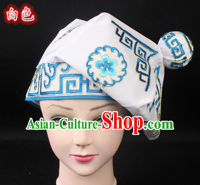 Traditional China Beijing Opera Takefu Hat, Ancient Chinese Peking Opera Martial Arts Men Headwear Embroidery White Kerchief