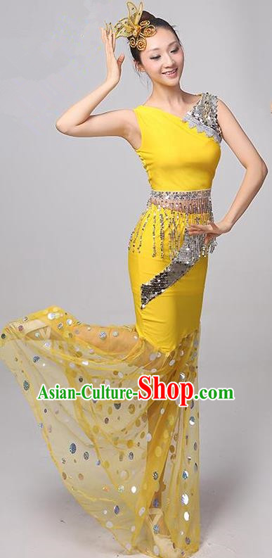 Traditional Chinese Dai Nationality Peacock Dance Costume, Folk Dance Ethnic Costume, Chinese Minority Nationality Dance Yellow Dress for Women