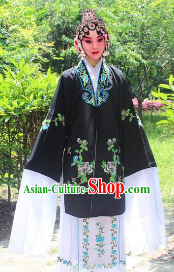 Traditional China Beijing Opera Young Lady Hua Tan Costume Embroidered Black Cape, Ancient Chinese Peking Opera Female Diva Embroidery Dress Clothing