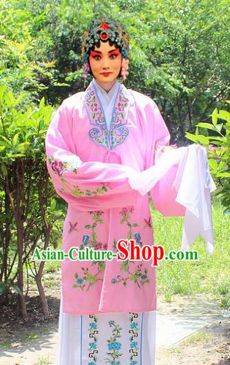 Traditional China Beijing Opera Young Lady Hua Tan Costume Embroidered Pink Cape, Ancient Chinese Peking Opera Female Diva Embroidery Dress Clothing