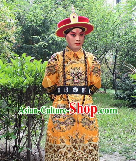 Traditional China Beijing Opera Costume Qing Dynasty Emperor Embroidered Robe and Headwear, Ancient Chinese Peking Opera Embroidery Dragon Gwanbok Clothing