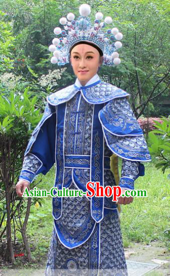 Traditional China Beijing Opera Costume Yang Warrior Robe and Headwear Complete Set, Ancient Chinese Peking Opera Soldier Blue Gwanbok Clothing