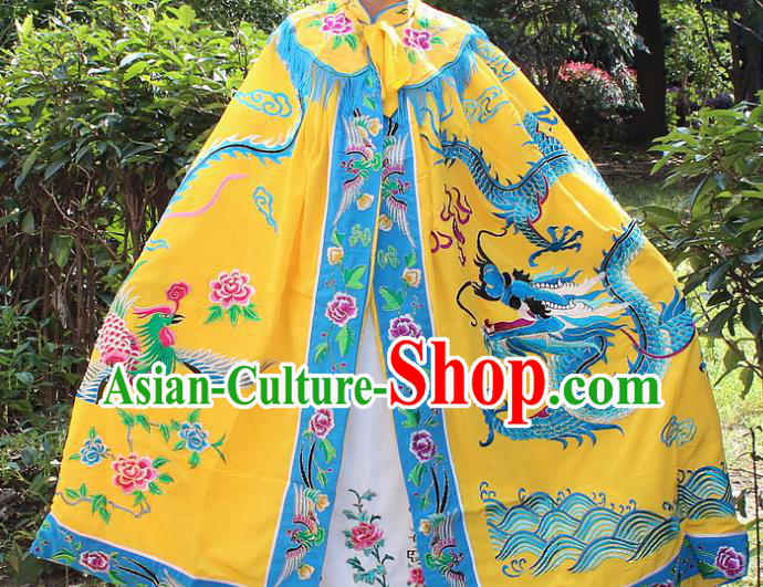 Traditional China Beijing Opera Young Lady Hua Tan Cloak Costume, Ancient Chinese Peking Opera Female Diva Embroidery Dragon and Phoenix Cape Clothing