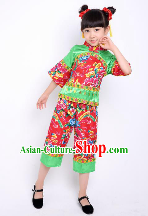 Traditional Chinese Classical Dance Yangge Fan Dance Printing Peony Green Costume, Folk Dance Waist Drum Dance Clothing Yangko Uniform for Kids