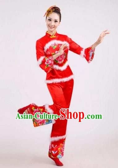 Traditional Chinese Classical Dance Yangge Fan Dance Embroidery Peony Red Costume, Folk Dance Waist Drum Dance Clothing Yangko Uniform for Women