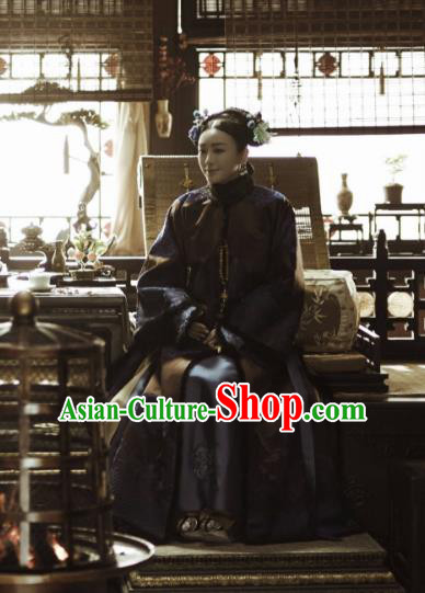 Story of Yanxi Palace Traditional Ancient Chinese Qing Dynasty Manchu Empress Costume, Chinese Mandarin Queen Embroidered Dress Clothing for Women