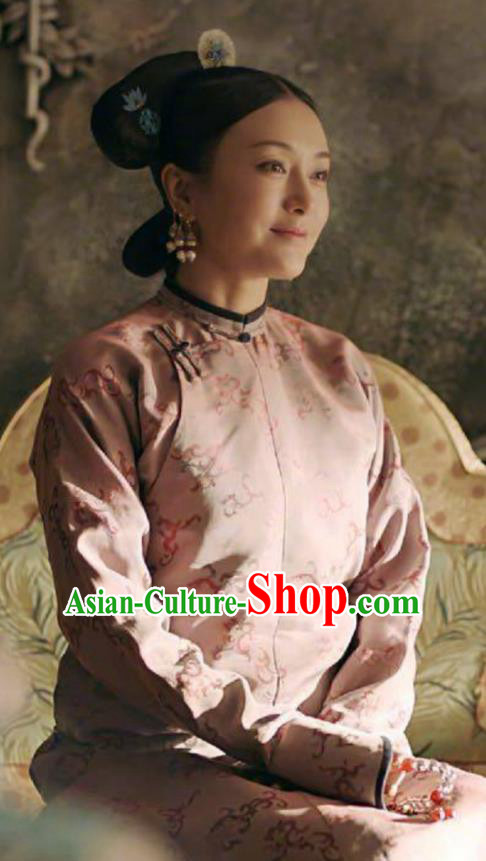 Story of Yanxi Palace Traditional Ancient Chinese Qing Dynasty Manchu Imperial Princess Costume, Chinese Mandarin Man Nationality Empress Embroidered Dress Clothing for Women