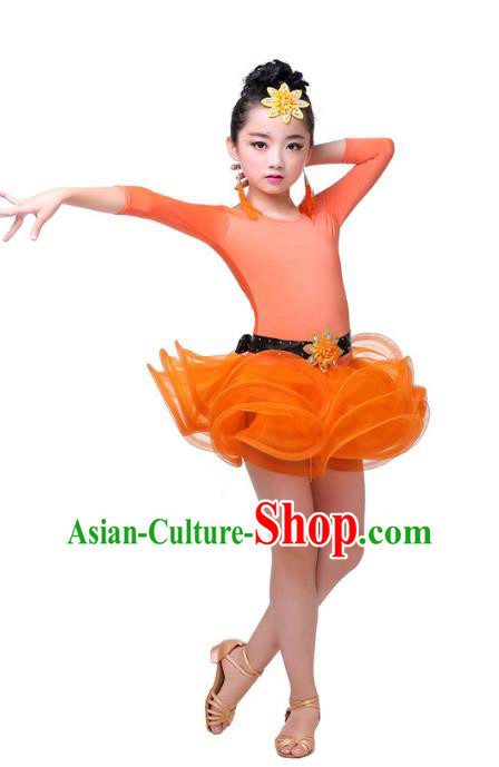 Top Grade Chinese Compere Professional Performance Catwalks Costume, Children Orange Bubble Dress Modern Latin Dance Dress for Girls Kids