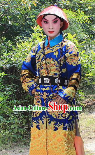 Traditional China Beijing Opera Niche Costume Qing Dynasty Eunuch Embroidered Robe and Hat, Ancient Chinese Peking Opera Manchu Royal Highness Embroidery Gwanbok Clothing