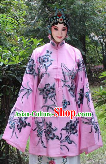 Traditional China Beijing Opera Young Lady Hua Tan Costume Pink Embroidered Cape, Ancient Chinese Peking Opera Female Diva Embroidery Dress Clothing