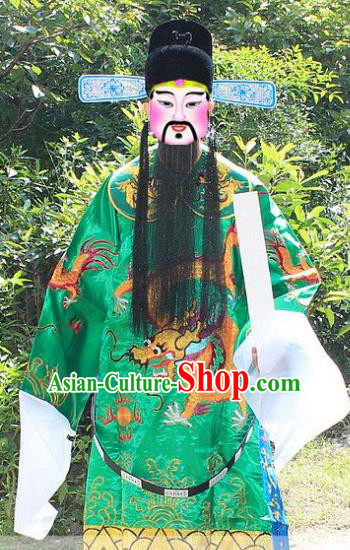 Traditional China Beijing Opera Costume Bao Zheng Embroidered Robe and Headwear, Ancient Chinese Peking Opera Embroidery Green Gwanbok Clothing