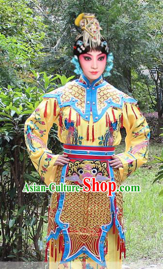 Traditional China Beijing Opera Young Lady Costume Swordplay Yellow Embroidered Robe and Headwear, Ancient Chinese Peking Opera Blues Embroidery Dress Clothing