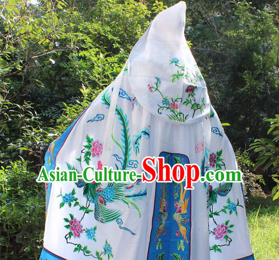 Traditional China Beijing Opera Young Lady Costume Diva Embroidered Cloak, Ancient Chinese Peking Opera Hua Tan Embroidery Cape Clothing