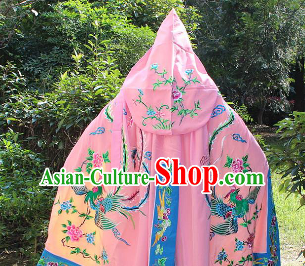 Traditional China Beijing Opera Young Lady Costume Diva Embroidered Pink Cloak, Ancient Chinese Peking Opera Hua Tan Embroidery Cape Clothing