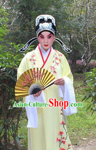 Traditional China Beijing Opera Niche Costume Scholar Embroidered Robe and Headwear, Ancient Chinese Peking Opera Embroidery Yellow Xiucai Gwanbok Clothing