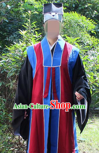 Traditional China Beijing Opera Costume Old Men Robe and Hat, Ancient Chinese Peking Opera Ministry Councillor Clothing