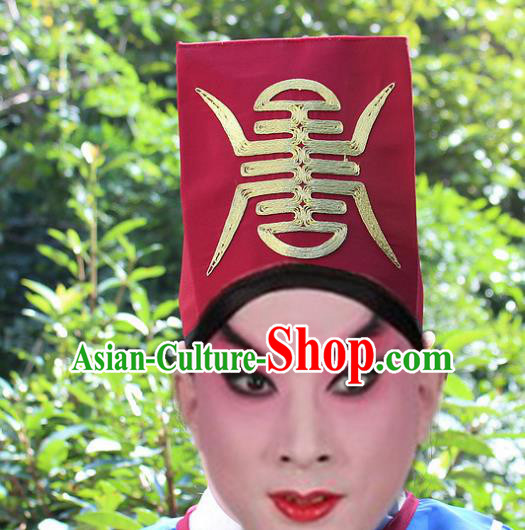 Traditional China Beijing Opera Young Men Hair Accessories Song Dynasty Government Runners Headwear, Ancient Chinese Peking Opera Niche Red Hat