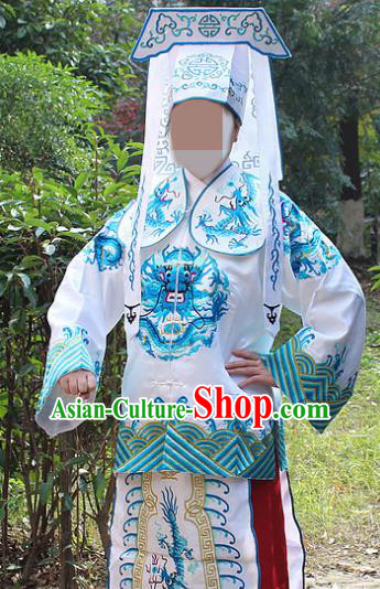 Traditional China Beijing Opera Takefu Costume Imperial Bodyguard White Embroidered Robe and Hat, Ancient Chinese Peking Opera Embroidery Gwanbok Clothing