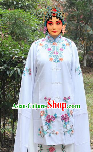 Traditional China Beijing Opera Young Lady Hua Tan Costume Embroidered Cape, Ancient Chinese Peking Opera Female Diva Embroidery Dress Clothing
