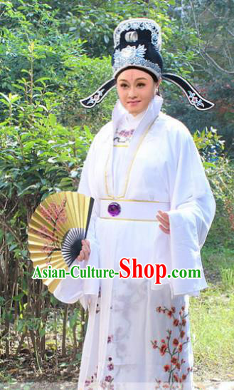 Traditional China Beijing Opera Niche Costume Gifted Scholar Embroidered Robe and Hat, Ancient Chinese Peking Opera Embroidery Clothing