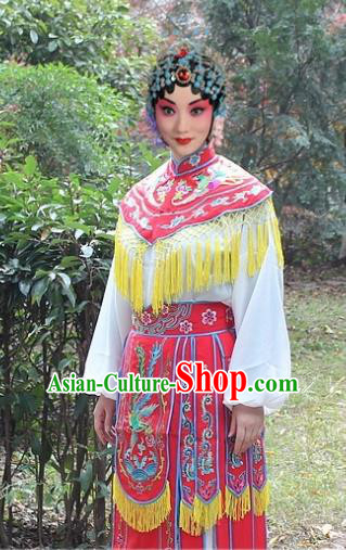 Traditional China Beijing Opera Hua Tan Costume Imperial Princess Embroidered Robe, Ancient Chinese Peking Opera Female Diva Embroidery Dress Red Clothing