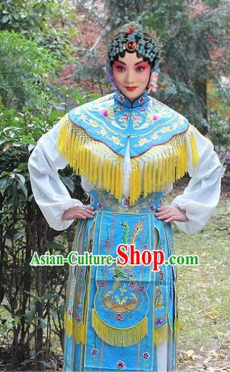 Traditional China Beijing Opera Hua Tan Costume Imperial Princess Embroidered Robe, Ancient Chinese Peking Opera Female Diva Embroidery Dress Blue Clothing