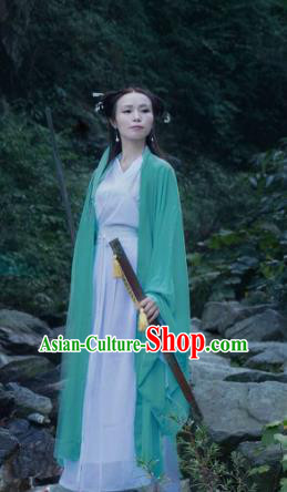 Traditional Ancient Chinese Swordswoman Costume Green Wide Sleeve Cardigan, Elegant Hanfu Clothing Chinese Jin Dynasty Fairy Dress Clothing for Women