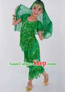 Traditional Indian Classical Dance Belly Dance Costume and Headwear, India China Uyghur Nationality Dance Clothing Green Uniform for Kids