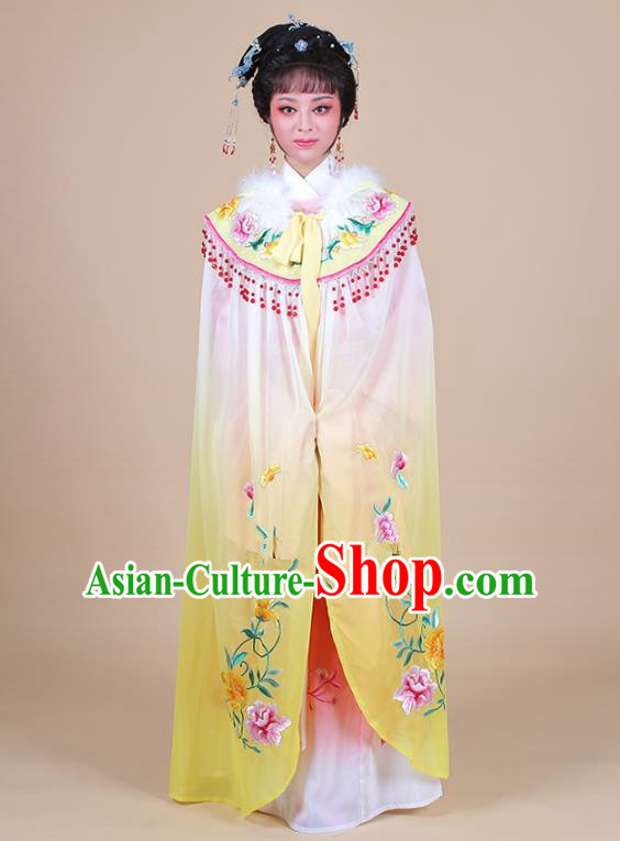 Traditional China Beijing Opera Young Lady Hua Tan Costume Female Yellow Embroidered Cloak, Ancient Chinese Peking Opera Diva Embroidery Mantle Clothing