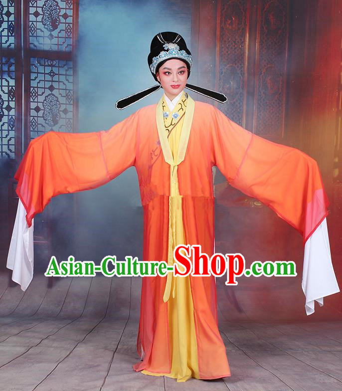 Traditional China Beijing Opera Niche Costume Gifted Scholar Embroidered Robe and Headwear, Ancient Chinese Peking Opera Embroidery Orange Clothing