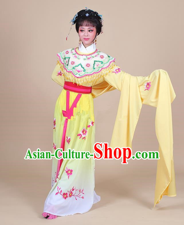 Traditional China Beijing Opera Young Lady Hua Tan Costume Female Water Sleeve Dance Yellow Clothing, Ancient Chinese Peking Opera Diva Embroidery Plum Blossom Dress