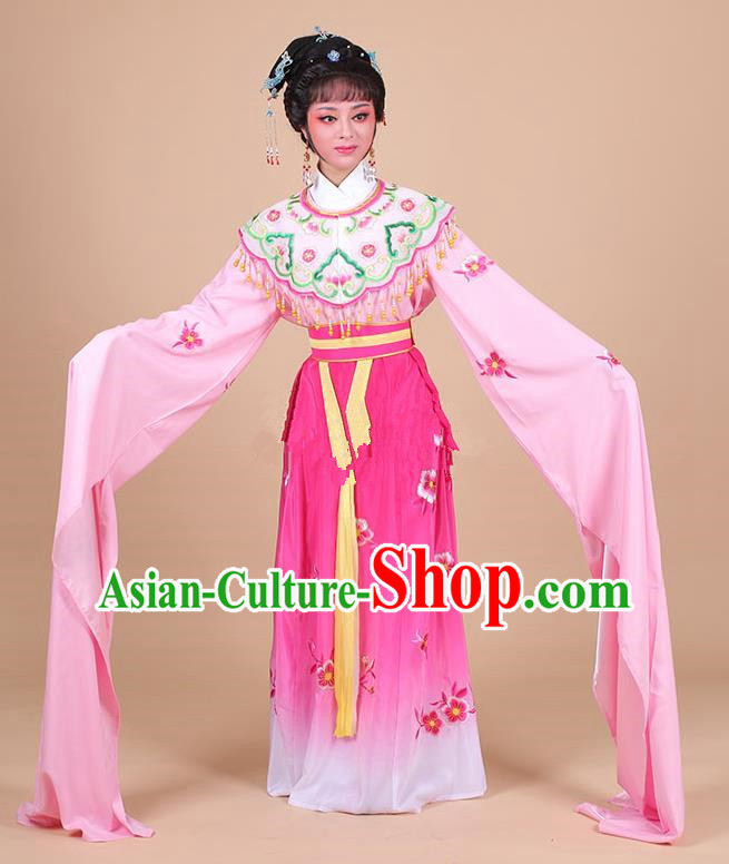 Traditional China Beijing Opera Young Lady Hua Tan Costume Female Water Sleeve Dance Rosy Clothing, Ancient Chinese Peking Opera Diva Embroidery Plum Blossom Dress