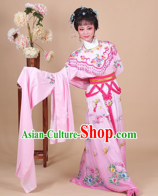 Traditional China Beijing Opera Young Lady Hua Tan Costume Female Princess Clothing, Ancient Chinese Peking Opera Diva Embroidery Pink Dress