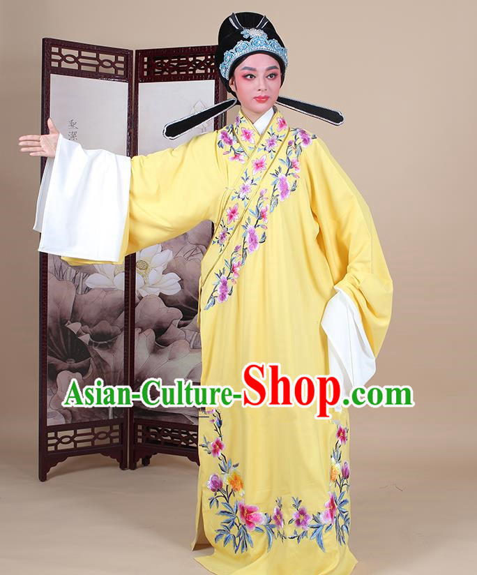 Traditional China Beijing Opera Niche Costume Lang Scholar Embroidered Yellow Robe and Headwear, Ancient Chinese Peking Opera Embroidery Clothing