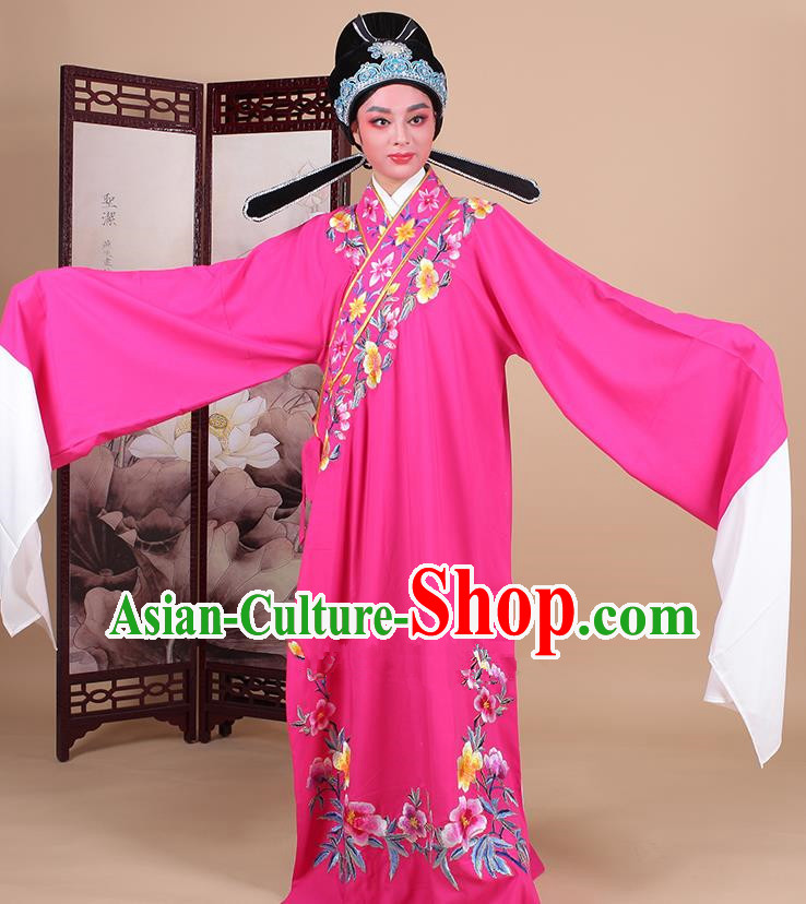 Traditional China Beijing Opera Niche Costume Lang Scholar Embroidered Peach Pink Robe and Headwear, Ancient Chinese Peking Opera Embroidery Clothing