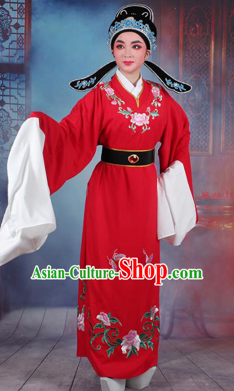 Traditional China Beijing Opera Niche Costume Lang Scholar Embroidered Red Robe and Headwear, Ancient Chinese Peking Opera Jia Baoyu Embroidery Clothing
