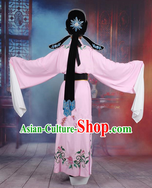 Traditional China Beijing Opera Niche Costume Lang Scholar Embroidered Pink Robe and Headwear, Ancient Chinese Peking Opera Jia Baoyu Embroidery Clothing