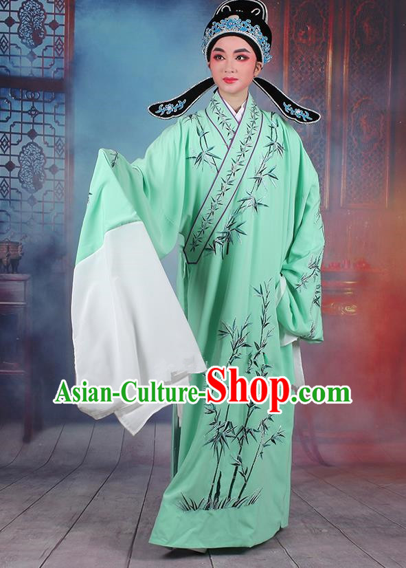 Traditional China Beijing Opera Niche Costume Gifted Scholar Green Embroidered Robe and Headwear, Ancient Chinese Peking Opera Embroidery Bamboo Clothing