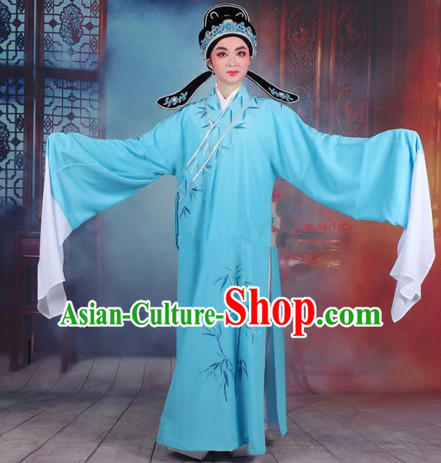 Traditional China Beijing Opera Niche Costume Gifted Scholar Sky Blue Embroidered Robe and Headwear, Ancient Chinese Peking Opera Embroidery Bamboo Clothing