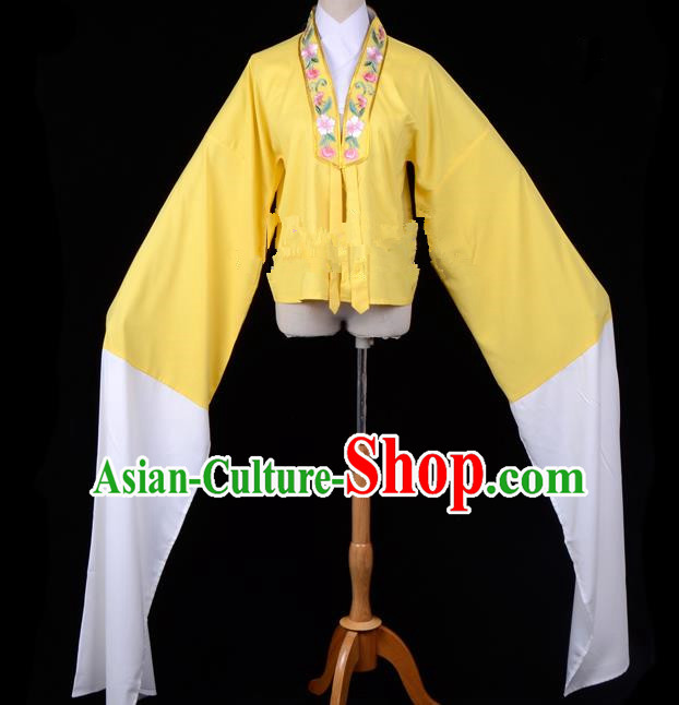 Traditional China Beijing Opera Young Lady Hua Tan Costume Princess Embroidered Yellow Blouse, Ancient Chinese Peking Opera Diva Embroidery Water Sleeve Clothing
