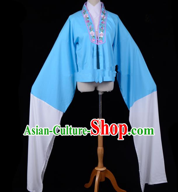 Traditional China Beijing Opera Young Lady Hua Tan Costume Princess Embroidered Deep Blue Blouse, Ancient Chinese Peking Opera Diva Embroidery Water Sleeve Clothing