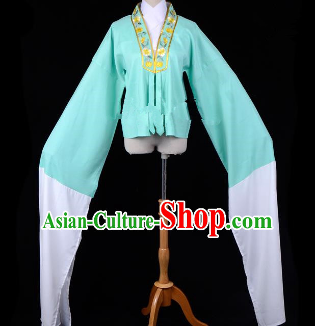 Traditional China Beijing Opera Young Lady Hua Tan Costume Princess Embroidered Green Blouse, Ancient Chinese Peking Opera Diva Embroidery Water Sleeve Clothing