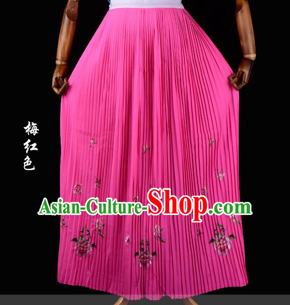 Traditional China Beijing Opera Young Lady Hua Tan Costume Female Embroidered Plum Red Pleated Skirt, Ancient Chinese Peking Opera Diva Embroidery Peony Dress Bust Skirt