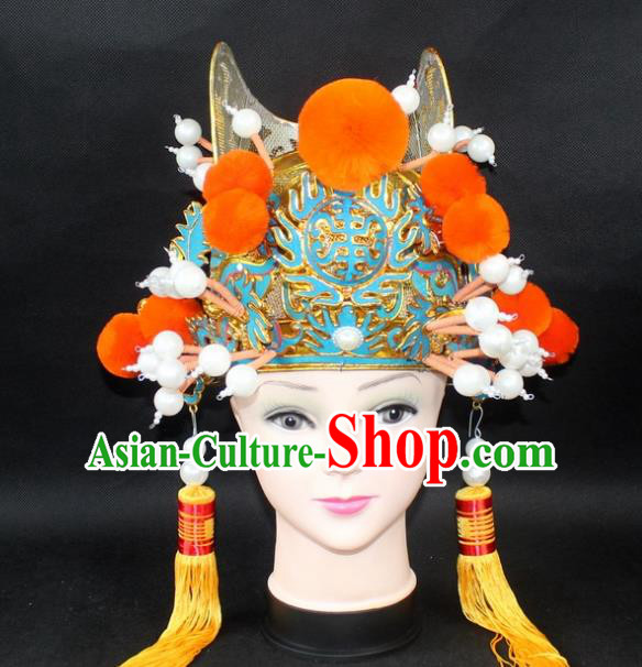 Traditional China Beijing Opera Lang Scholar Niche Hat, Ancient Chinese Peking Opera Eunuch Orange Venonat Cap Headwear Prime Minister Hat