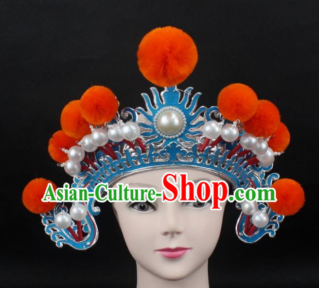 Traditional China Beijing Opera Hair Accessories Orange Venonat General Hat, Ancient Chinese Peking Opera Takefu Helmet Headwear