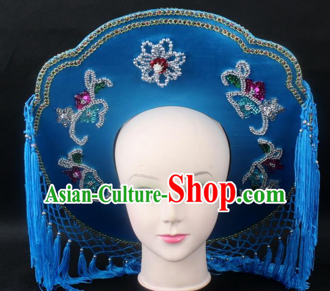 Traditional China Beijing Opera Hair Accessories Fisher-Woman Blue Hat, Ancient Chinese Peking Opera Swordplay Helmet Headwear