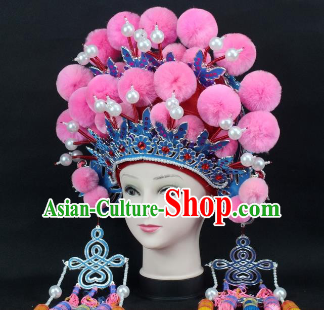 Traditional China Beijing Opera Young Lady Hair Accessories Female General Helmet, Ancient Chinese Peking Opera Swordplay Pink Venonat Headwear